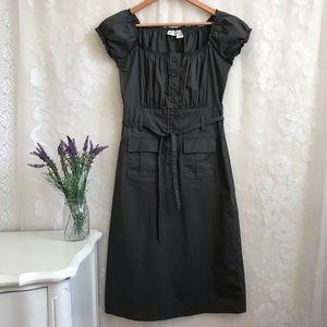 Newport News Gray Tie Front Dress Midi Short Slv 4